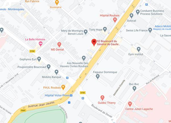Carte pour trouver le cabinet diététique à Roubaix